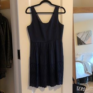 Navy cotton J Crew dress with scallop hem